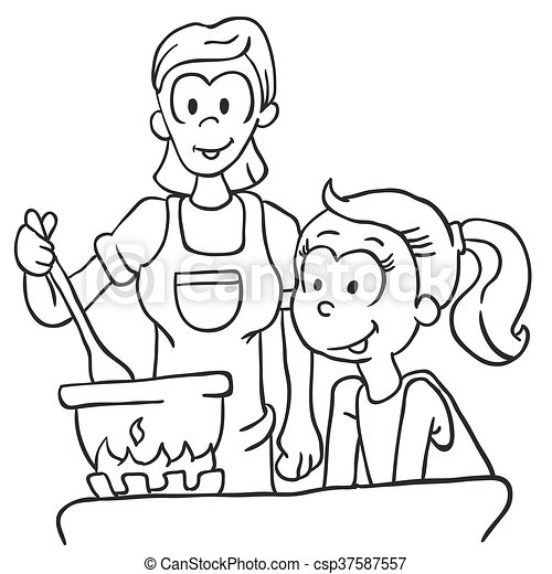 Black And White Mother And Daughter Cooking Cartoon