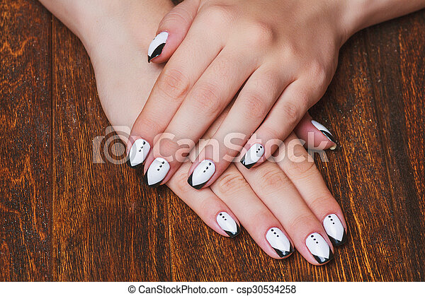 Black And White Nail Art On Wooden Background Black And White Nail