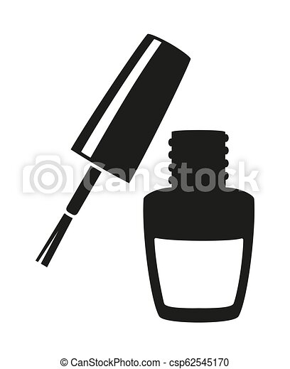 Black And White Nail Varnish Silhouette Hand Hygiene Solution Beauty Manicure Themed Vector