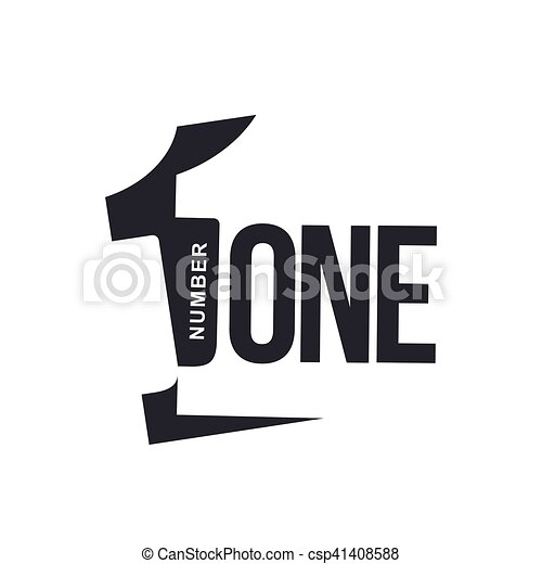 Black and white number one diagonal logo template, vector ...