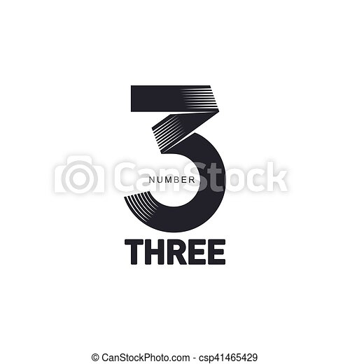 Black and white number three strips logo template, vector... vector ...