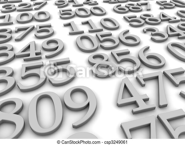 Black and white numbers background. 3d rendered illustration - csp3249061