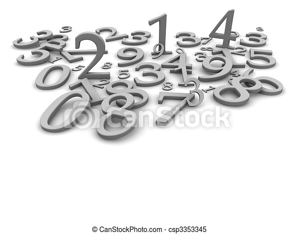 Black and white numbers background. 3d rendered illustration - csp3353345