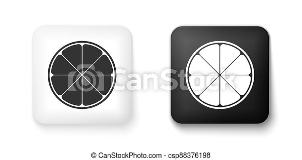 Black and white Orange in a cut. Citrus fruit icon isolated on white background. Healthy lifestyle. Square button. Vector - csp88376198