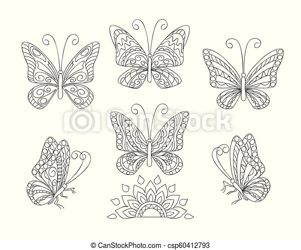 black and white ornamental  butterfies for adult coloring - csp60412793