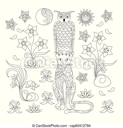 black and white ornamental cat and owl for adult coloring - csp60412794