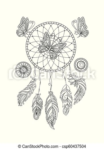 black and white ornamental  dreamcatcher and butterfies for adult coloring - csp60437504