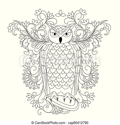 black and white ornamental owl and mehendi flowers for adult coloring - csp60412790