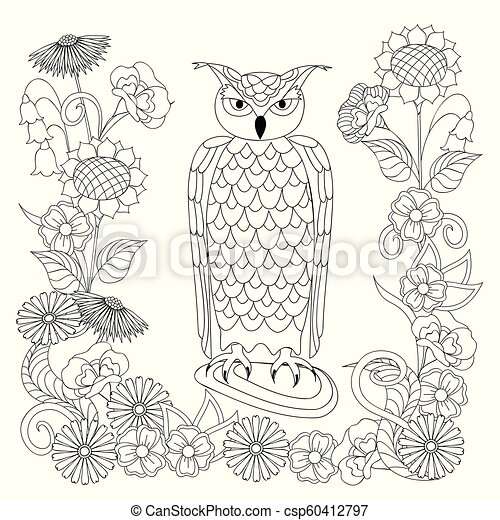 black and white ornamental owl and flowers for adult coloring - csp60412797