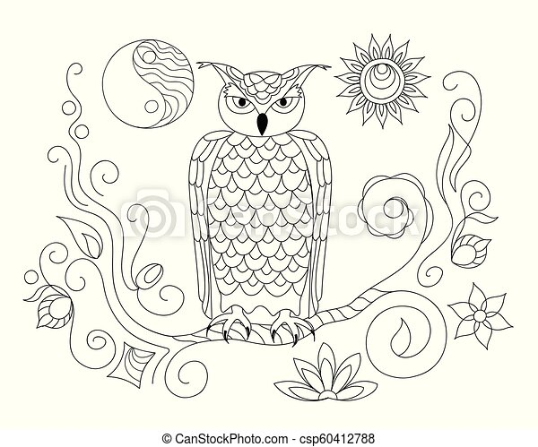 black and white ornamental owl and Yin Yang for adult coloring - csp60412788