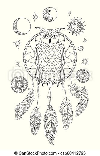 black and white ornamental owl on the dreamcatcher for adult coloring - csp60412795