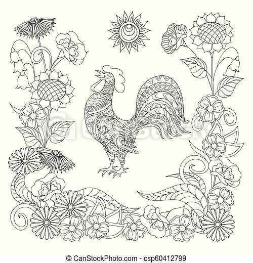 black and white ornamental rooster and symbol sun for adult coloring - csp60412799