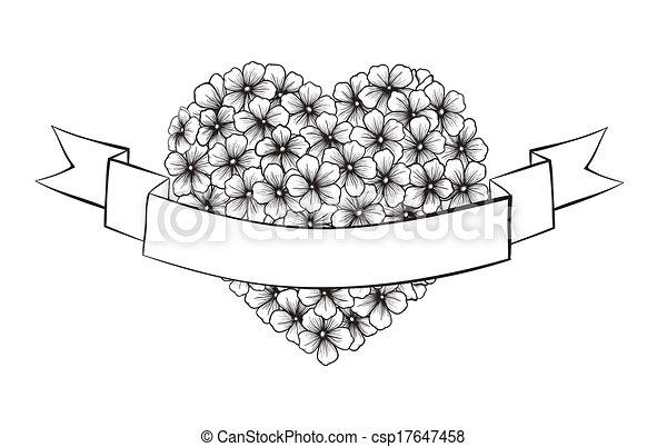 Line Drawing Of Flowers Clipart : Black and white outline flowers in a heart shape. with clipart