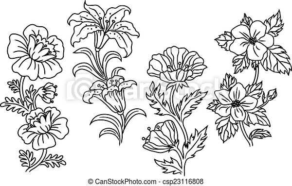 Black and white outline summer flowers csp23116808