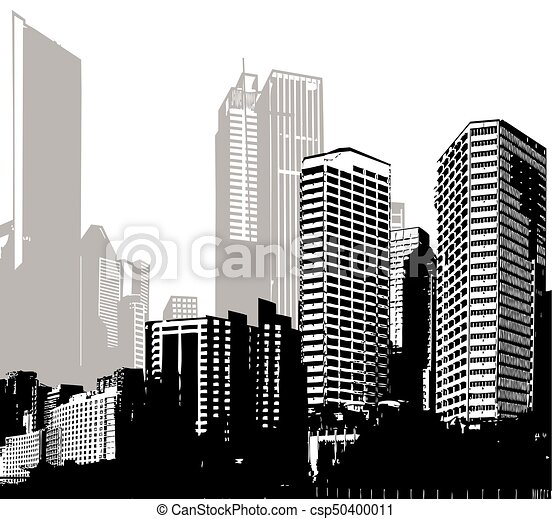 Black and white panorama cities vector art