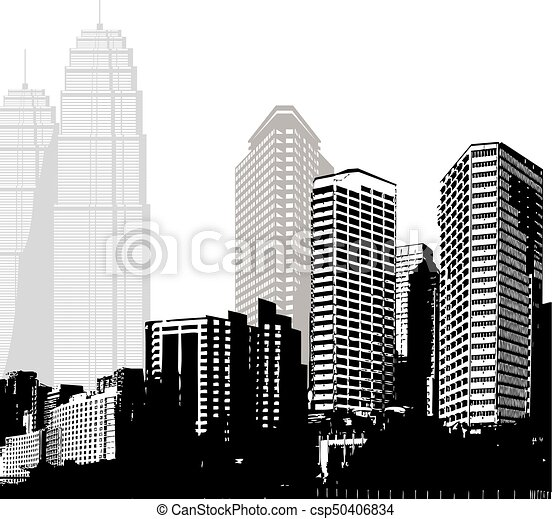 Black And White Panorama Of Skyscrapers