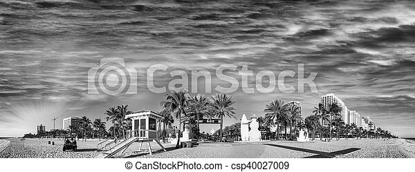 Black and white panoramic view of Fort Lauderdale Beach - Florida - csp40027009