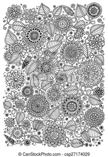 Black And White Pattern For Adults Or Kids Coloring Book