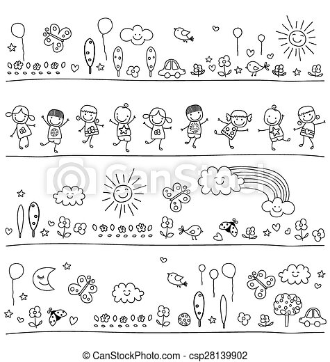 black and white pattern for children - csp28139902