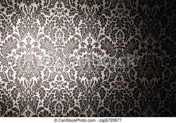 Black and white pattern wallpaper photography with a light stain vintage style