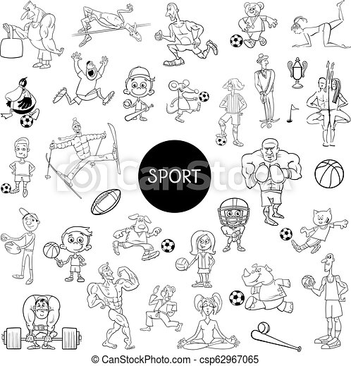 Black And White People And Sports Cartoons Black And White Cartoon Illustration Of People Characters And Sport Disciplines
