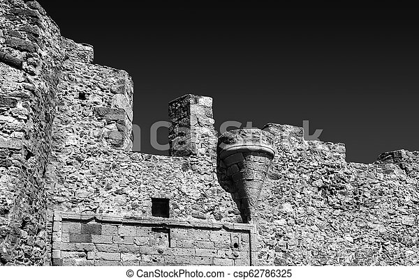 black and white photography of the castle of Monemvasia Greece Laconia Peloponnese Greece - csp62786325