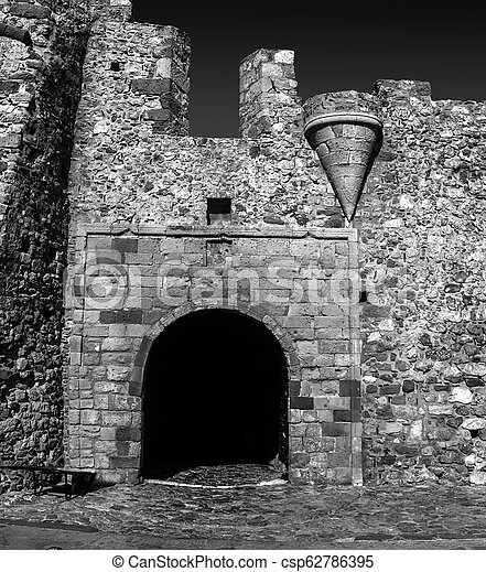 black and white photography of the castle of Monemvasia Laconia Peloponnese Greece - csp62786395