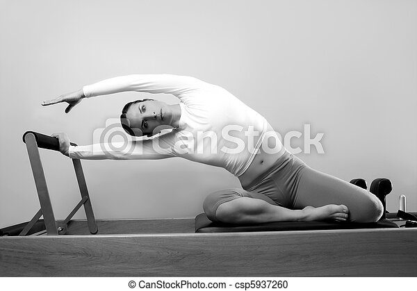 black and white pilates woman sport fitness portrait - csp5937260