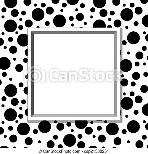 Black and white polka dot background with frame with center for copy ...