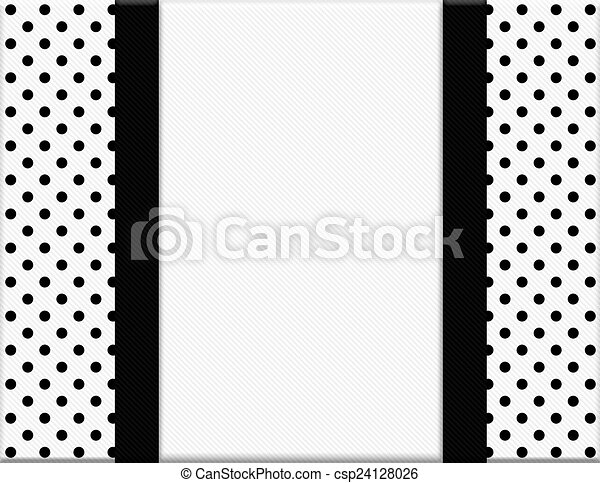Black and white polka dot frame with ribbon background csp24128026