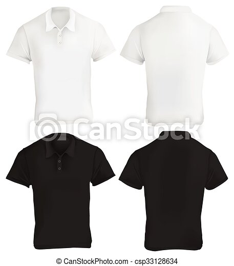 Black and white polo shirt design template. Vector illustration of ...