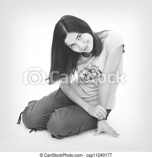 Black and white portrait  of beautiful young woman - csp11240177