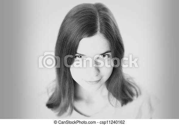 Black and white portrait  of beautiful young woman - csp11240162