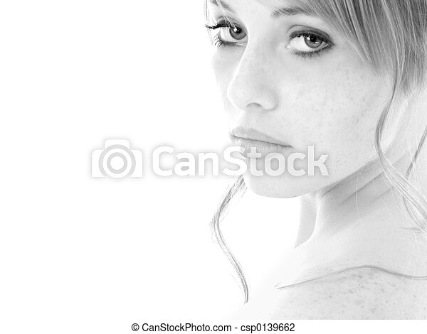Black and White Portrait Teen Girl - csp0139662