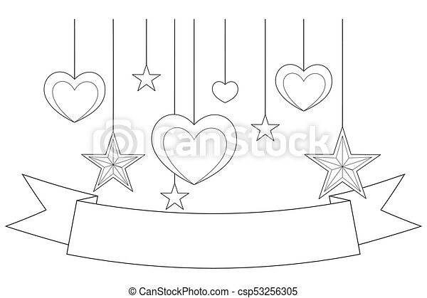 Black and white poster - ribbon, hearts and stars. coloring book ...