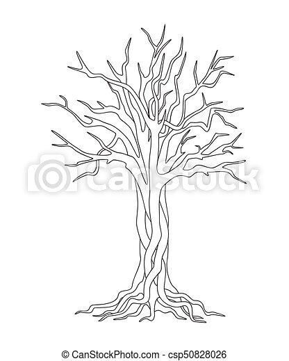 black and white print with tree - csp50828026