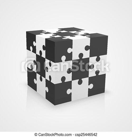 Black and white puzzle cube - csp25446542
