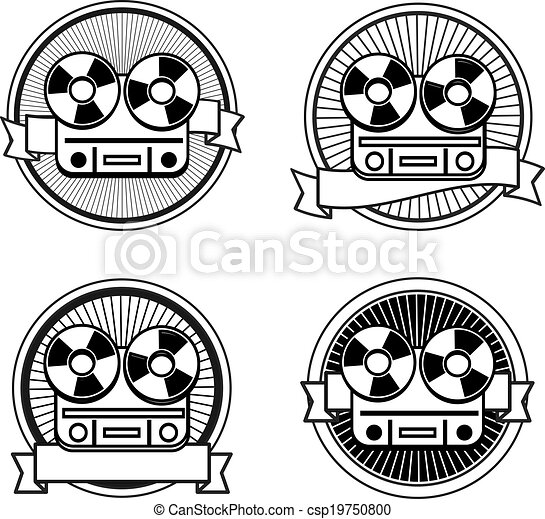 Black and white reel tape recorder stamp - csp19750800