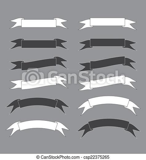 black and white ribbon banner vector Illustration - csp22375265