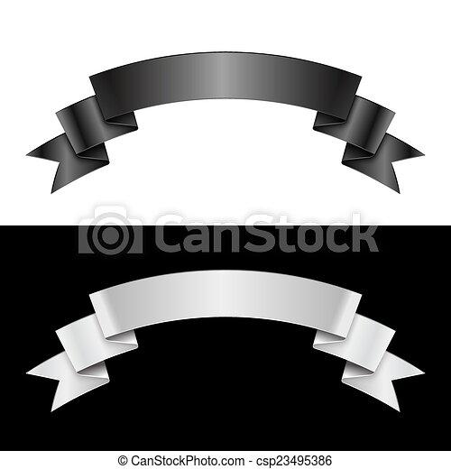 Black and white ribbon - csp23495386