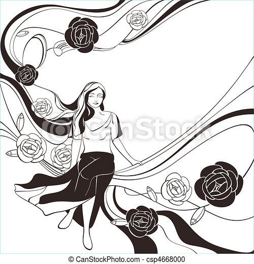 black and white romantic card - csp4668000