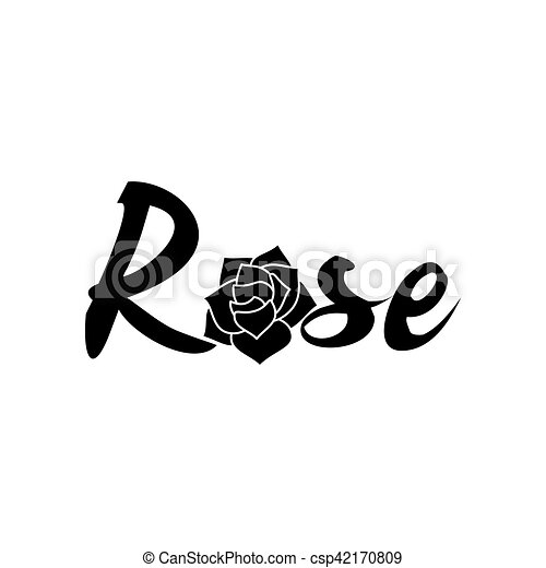 Black And White Rose Logo Template Black And White Isolated Vector