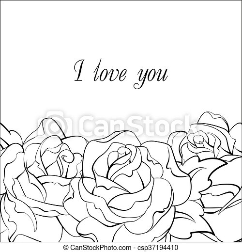 black and white roses card - csp37194410