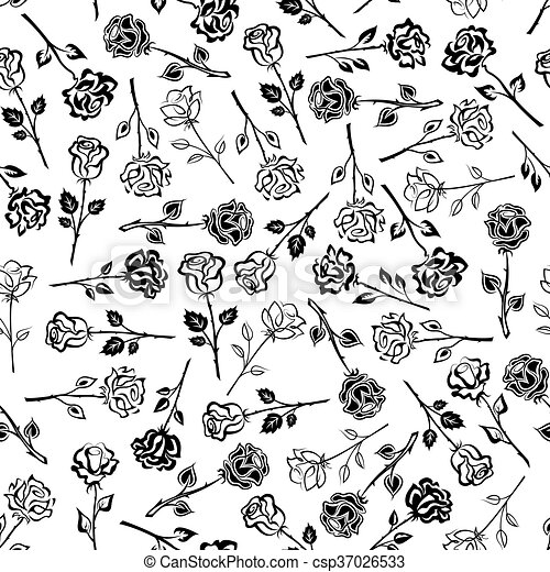 Black and white roses floral seamless pattern - csp37026533