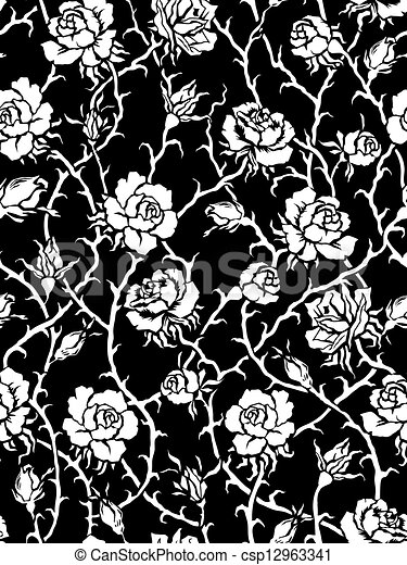 Black And White Roses Seamless Pattern