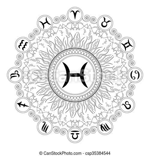 Black And White Round Geometric Mandala With Zodiac Symbol Of Pisces