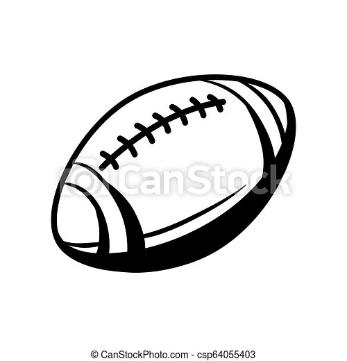 Black And White Rugby Ball Stylized Engraving Illustration