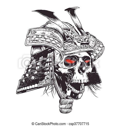 black and white samurai helmet with - csp37707715