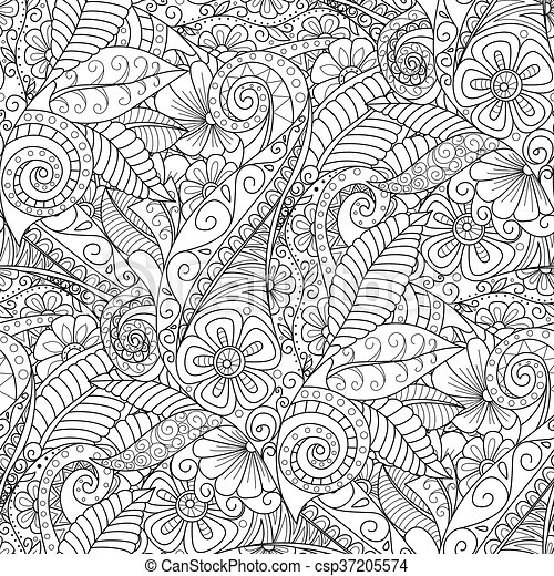 Black And White Seamless Floral Background Design For Adults Older Children Coloring Book Cover Textile Wrapper