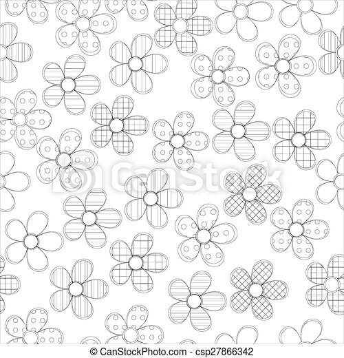 Black and white seamless pattern in flowers with contours - csp27866342